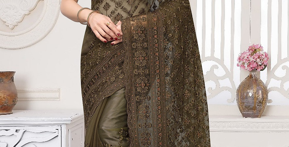 Raw Umber  Heavy Resham Embroidery Work with Heavy Blouse