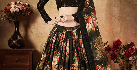 Pretty and Trendy Heavy Designer Black Color Lehenga Choli Set