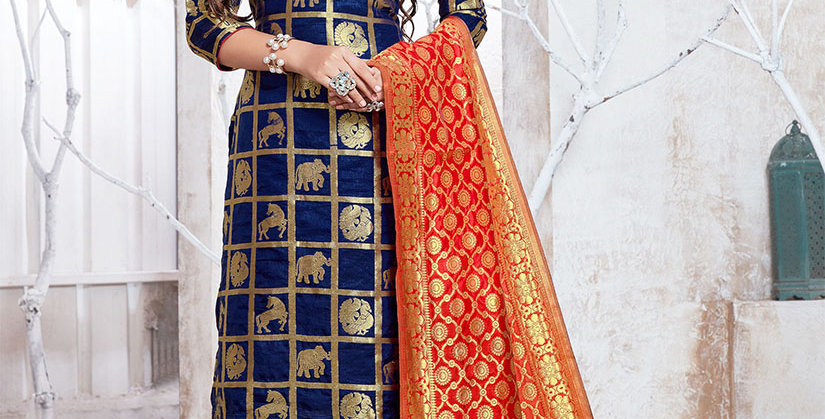 Hera is A  Pretty Designer Navy Blue  Color  Straight Salwar Suit