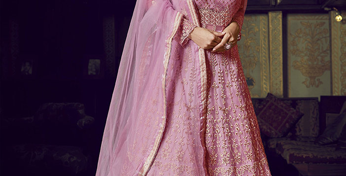Uniqe Style Pink Color Art Silk Floor Length Designer gown with net Duppatta