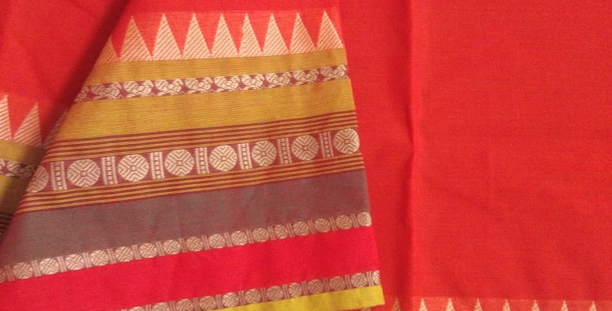 Traditional Cotton Sarees for Pongal Festive Red Color