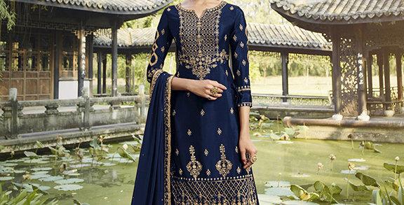 Pretty Designer Navy Blue Color Straight Salwar Suit