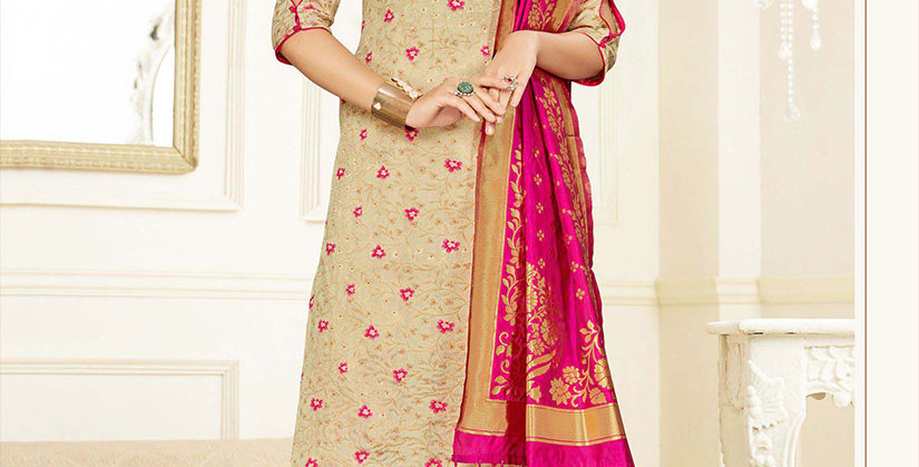 Hera is A  Pretty Designer Beige and Rani Pink Color  Straight Salwar Suit