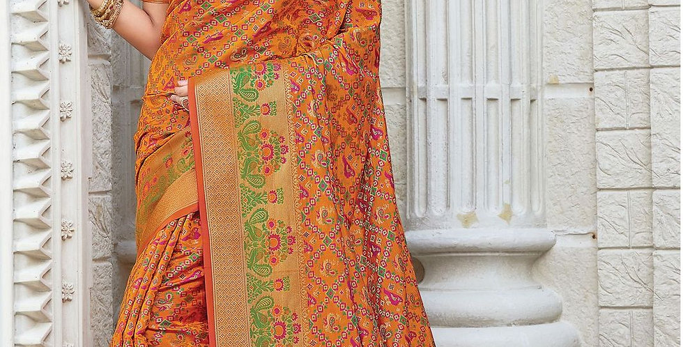 Mustard Color Patola Silk Sarees for Occasion