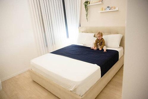 מגן מזרון ברולי למיטה זוגית - צבע כחול כהה