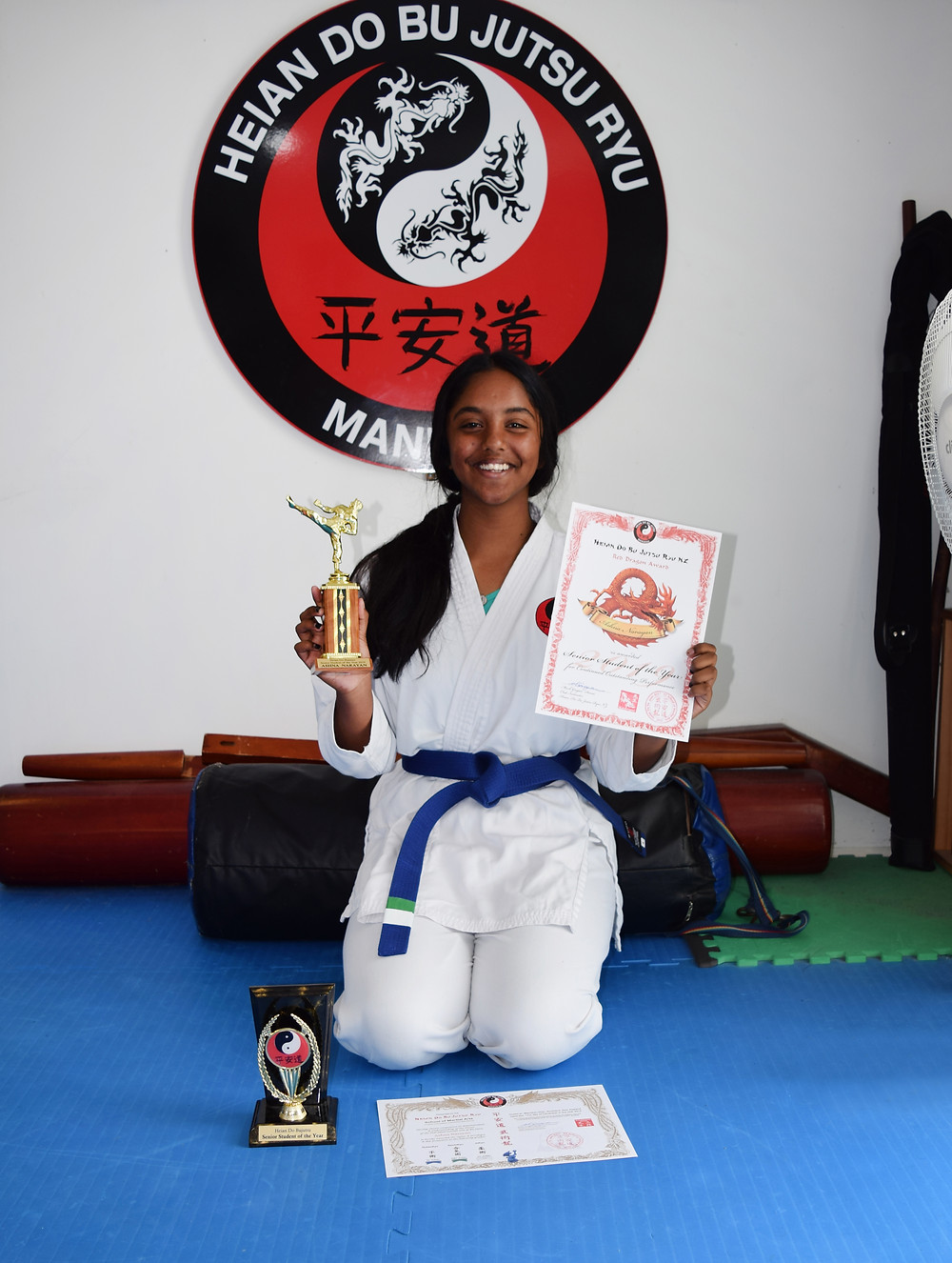 Ashna earns Senior Student of the Year 2019 and also grades Blue belt in Te Jutsu, Green belt in Aiki Jutsu and White in Ju Jutsu