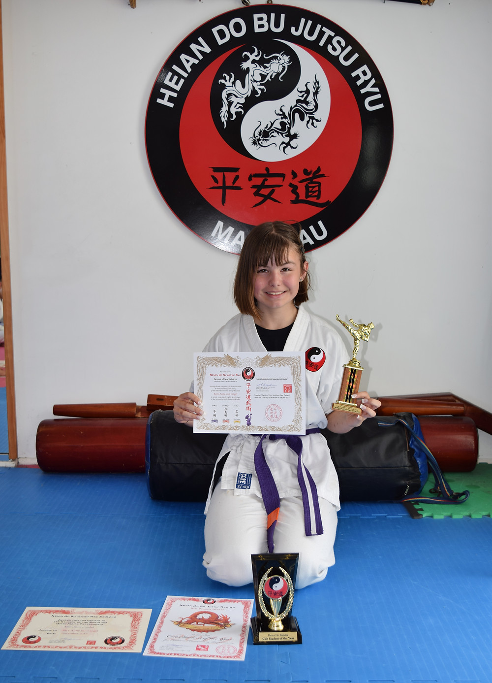 Kirri-Anne van Cingel earned Colt Student of the Year and also promoted to orange belt in Aiki Jutsu and yellow belt in Ju Jutsu