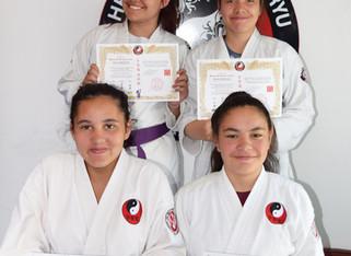 The Little sisters grade to purple belt