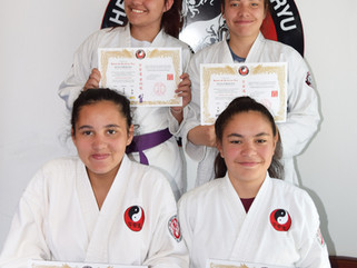 The Little sisters grade to purple belt