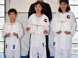 Abraham, Alicia and Valda Wulf grade to white belt