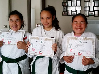 3 sisters grade to green belt in Te Jutsu