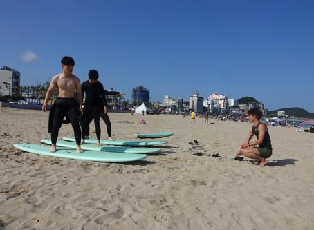 부산 송정 서핑의 계절이 왔습니다.