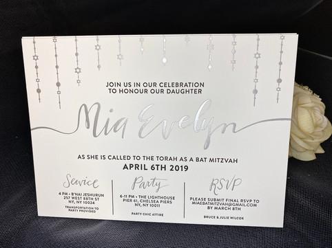 Bar & Bat Mitzvah invitations in NYC