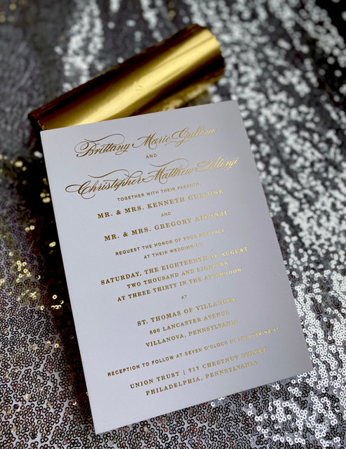 Foil stamping sweet 16 invitations