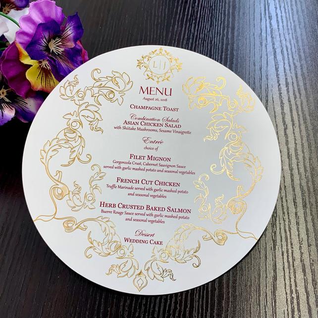 custom menus foil stamping and letterpress in NYC