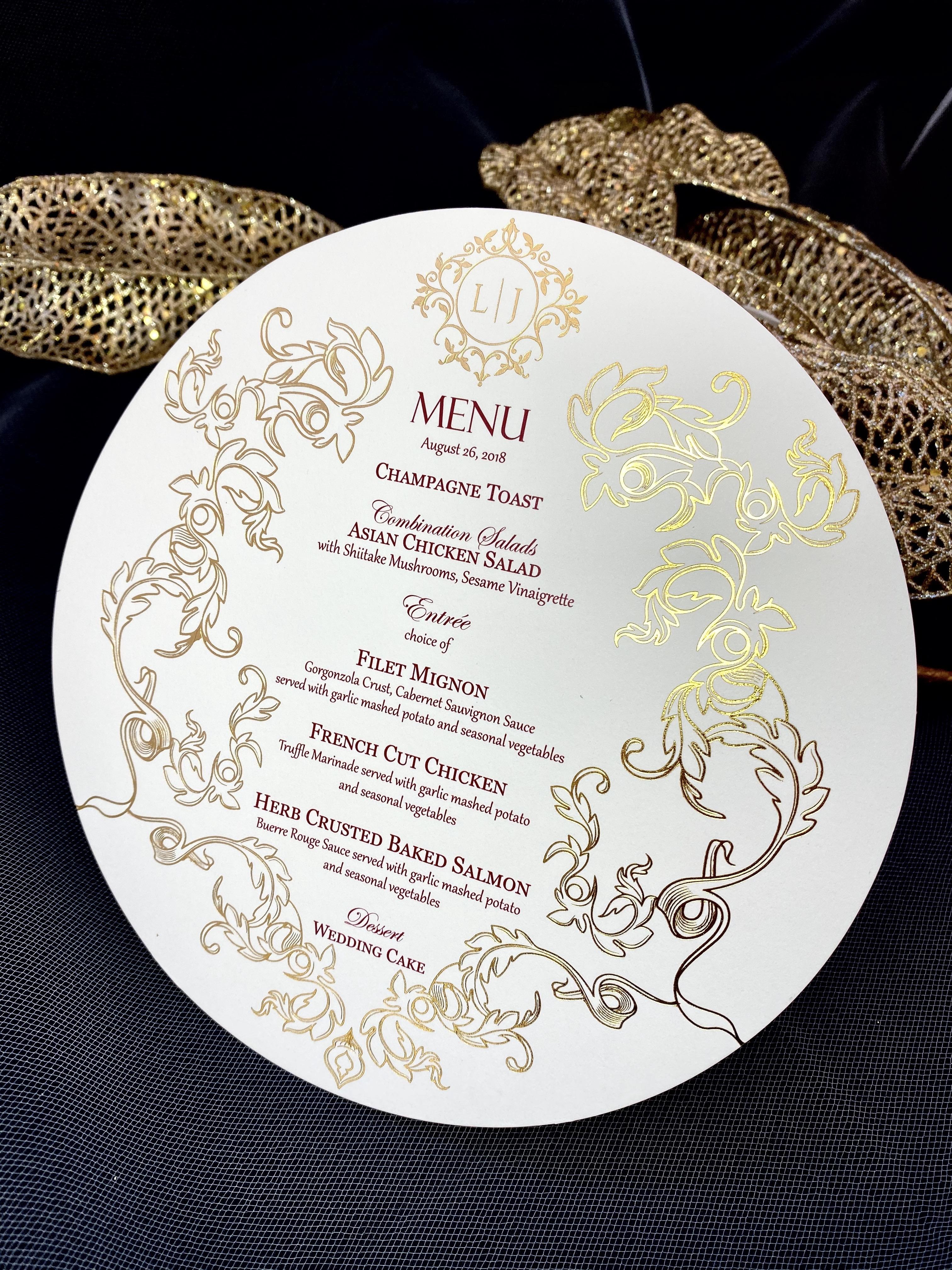 custom menus in NYC