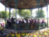 The North East Concert Band playing on the bandstand at Beamish Museum