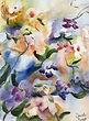 «Fleurs en folie», aquarelle, 15 x 11 po