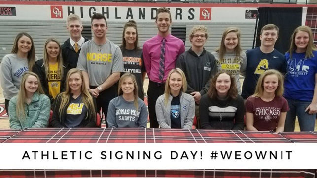 Students signing to colleges