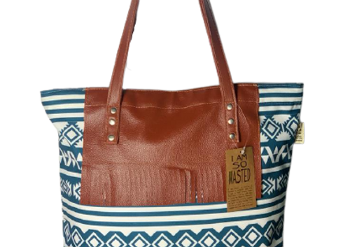 Blue Tote Bag with leatherette tassle