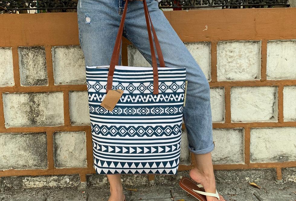 Blue & White Tote Bag