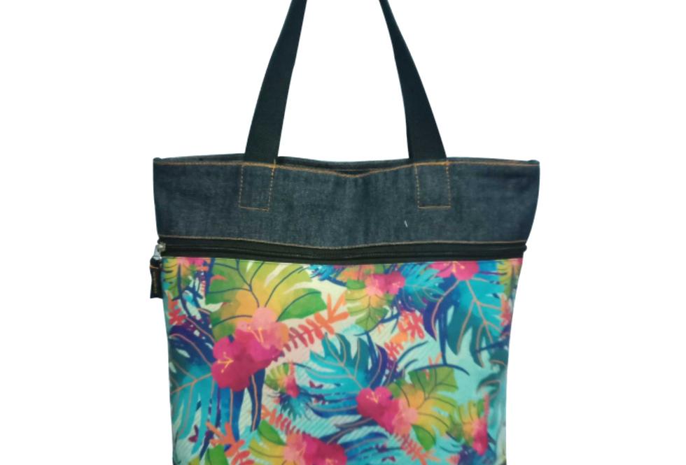 Tropical Denim Tote Bag