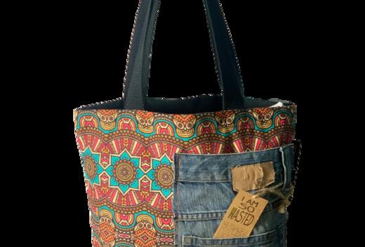 Floral Denim Printed Tote Bag