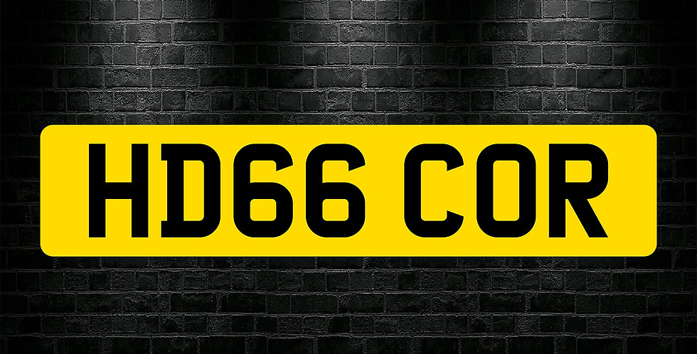 Yellow Rear Plain Number Plate Sticker