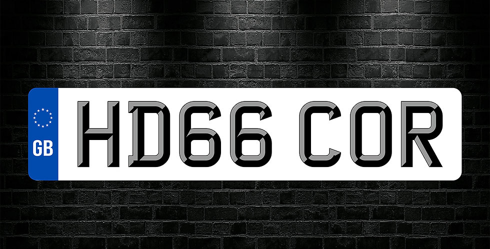 White Front GB 3D Font Number Plate Sticker