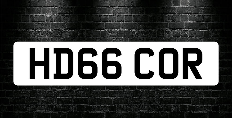 White Front Plain Number Plate Sticker