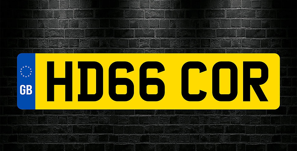 Yellow Rear GB Text Number Plate Sticker