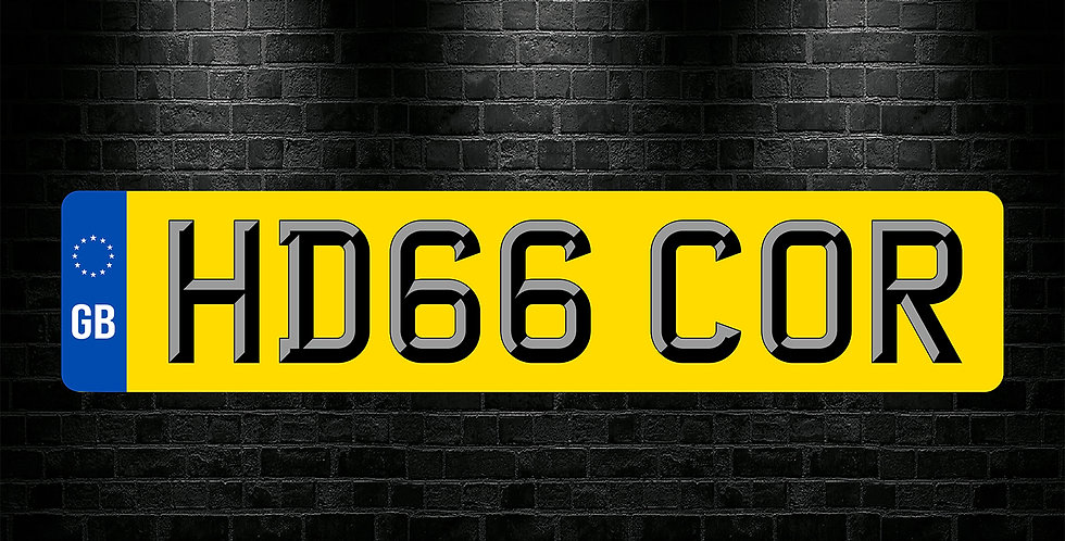 Yellow Rear GB 3D Font Text Number Plate Sticker