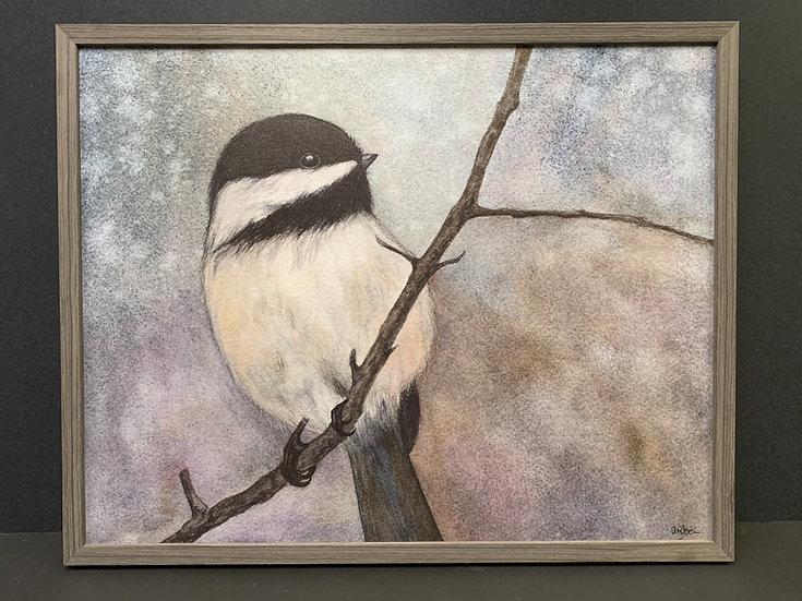 "Framed ""Frosty Chickadee"" by Angela Toci"