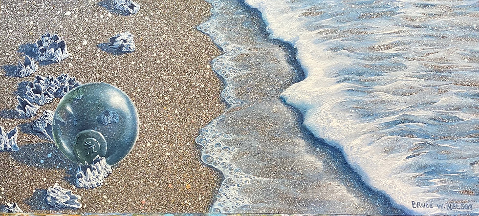 Glass Float on Barnacle Beach  by Bruce Nelson