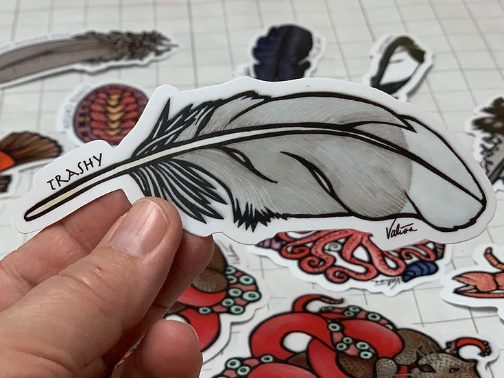 """Trashy"" feather Sticker by Valisa Higman"