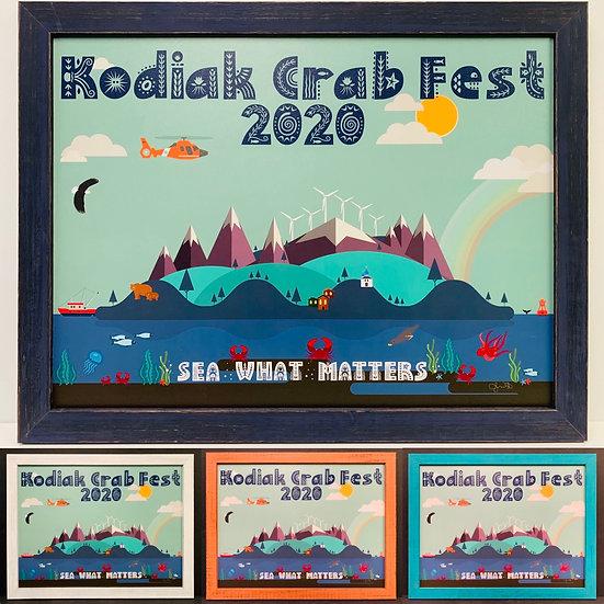 2020 Kodiak Crab Festival poster, Mounted & Laminated with Frame