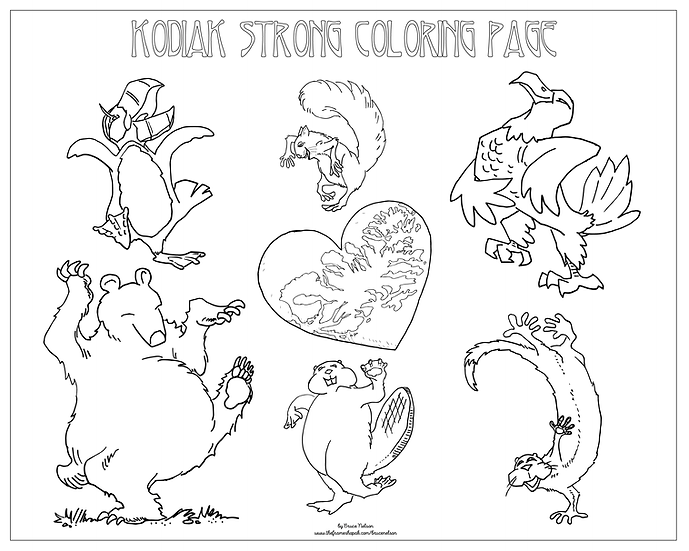 "20x16 coloring page ""Kodiak Dance Party"" by Bruce Nelson"