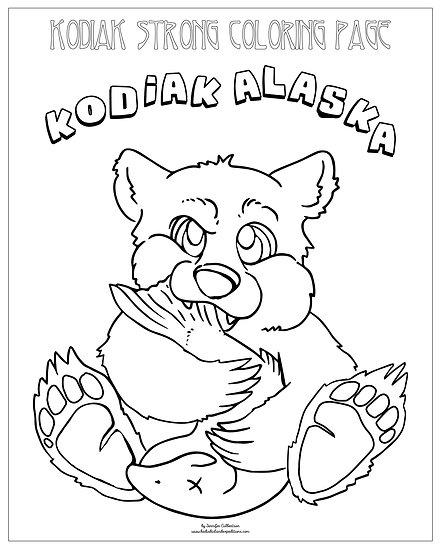 "20x16 coloring page ""Baby Bear w/Salmon"" by Marina Thomas"
