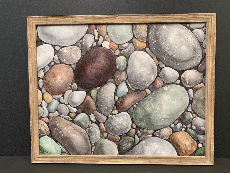 "Framed ""River Rocks"" by Angela Toci"
