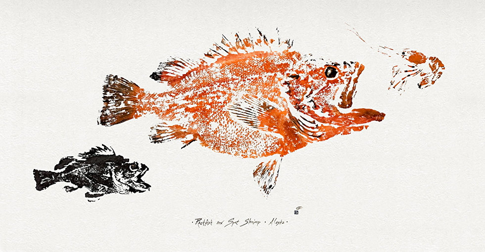 Two Rockfish & Spot Shrimp by Ink Goes Wild