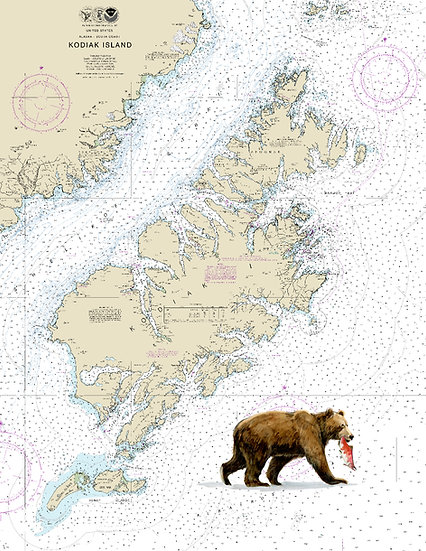 Brown Bear with Salmon Chart - The Frame Shop Brand