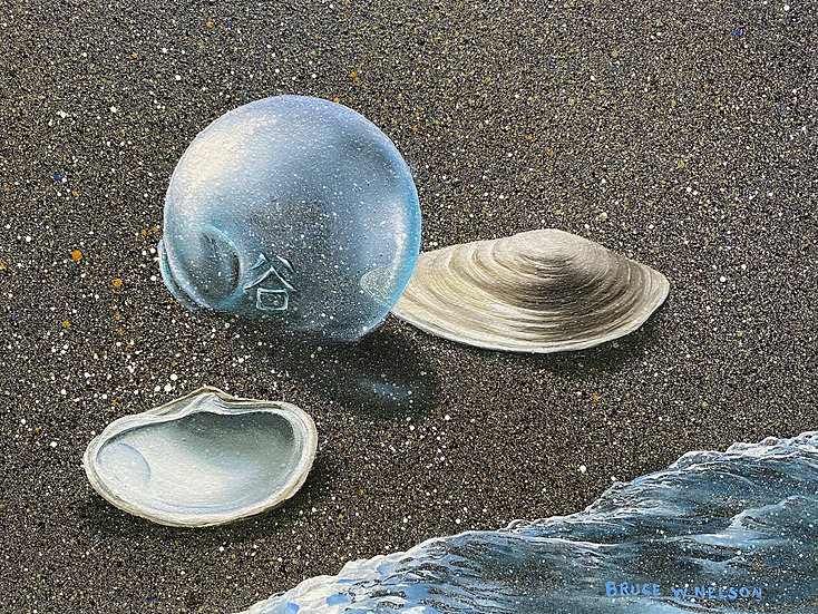 Glass float with 2 clam shells  by Bruce Nelson