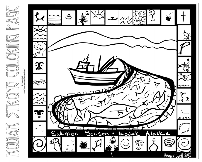"20x16 coloring page ""Salmon Season, Kodiak AK"" by Hanna Sholl"