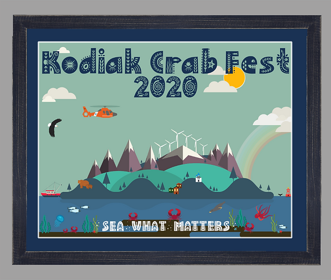 2020 Kodiak Crab Festival Poster matted w/ black rustic frame