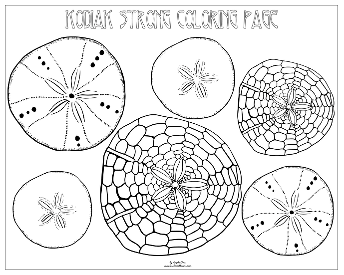 """20x16 coloring page """"Sand Dollars"""" by Angela Toci"""