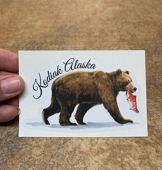 Bear with Salmon Kodiak Alaska - TFS Sticker