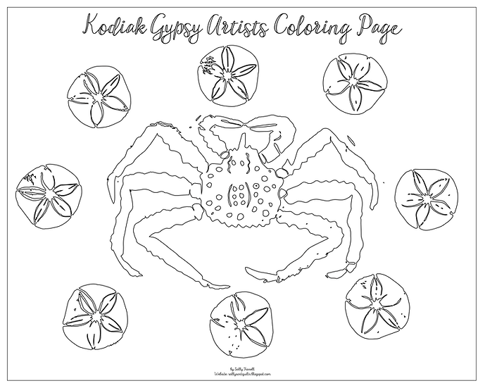 """copy of 20x16 coloring page """"Crab in the Stars"""" by Sally Troxell"""
