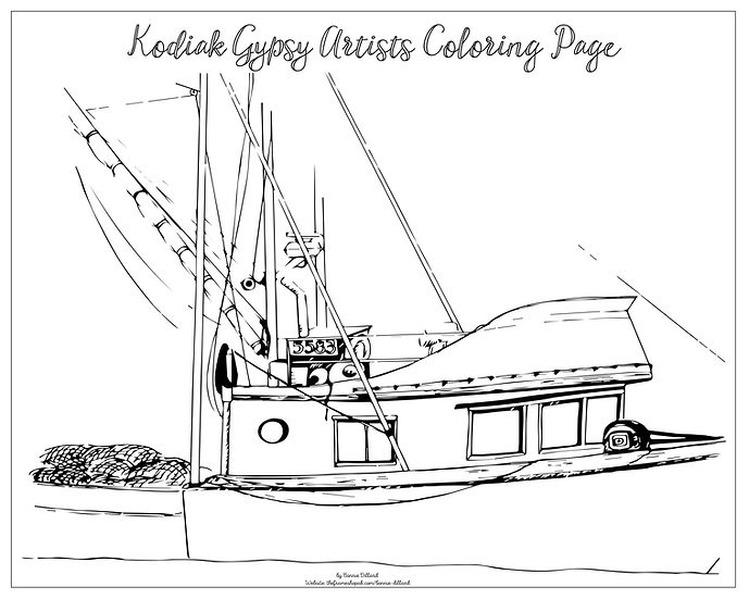"""20x16 coloring page """"Seiner"""" by Bonnie Dillard"""