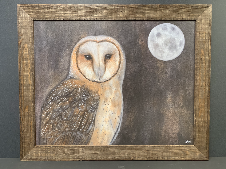 "Framed ""Full Moon Owl"" by Angela Toci"
