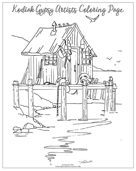 "20x16 coloring page ""Gear Shack"" by Antoinette Walker"
